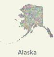 Alaska line art map vector image vector image