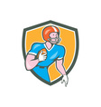 American Football Player Rusher Shield Retro vector image vector image