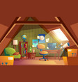 attic interior children playroom with vector image vector image