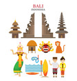 bali indonesia landmarks and culture object set vector image vector image