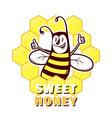 Bee honey emblem vector image vector image
