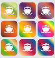 boat icon Nine buttons with bright gradients for vector image