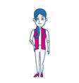 cartoon woman standing business employee character vector image