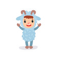 cheerful kid in blue sheep jumpsuit with little vector image vector image