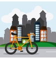 Classic Bicycle bike and city icon sport concept vector image vector image