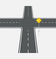 crossroads view flat intersection vector image vector image