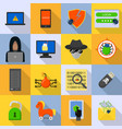 cyber attack computer virus icons set flat style vector image vector image