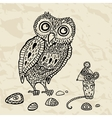 Decorative Owl and Mouse vector image