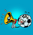 fan with megaphone football soccer ball funny vector image vector image