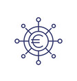 financial diversification line icon with euro vector image vector image