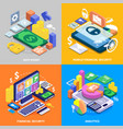 financial security isometric set vector image vector image