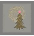 flat shading style icon Christmas tree vector image