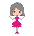 girly fairy without wings and grey short hair in vector image vector image