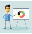 Handsome asian manager gives a presentation vector image vector image