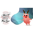 happy chinese new year of pig poster card with vector image vector image