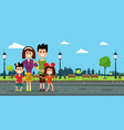 happy family in city prk flat design vector image vector image