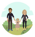 happy family with disabled girl couple and child vector image vector image