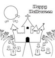 happy halloween - castle under the moon - line vector image