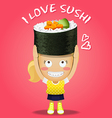 happy woman carrying big sushi roll vector image