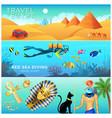 horizontal banners set egypt landscape tourism vector image vector image
