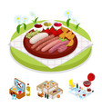 isometric bbq picnic bag summer holiday camp vector image vector image