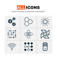 learning icons set with data cells data structure vector image