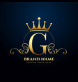 letter g premium floral and crown logo design vector image