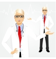 male hipster doctor holding something vector image vector image