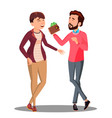 man and woman talking about family budget with vector image