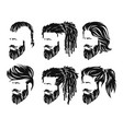 mens hairstyles and hirecut with beard mustache vector image vector image