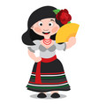 mexican dancer girl cartoon character woman with vector image vector image