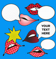 mouth with speech bubbles in pop art style set of vector image