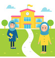 muslim girls going to school vector image vector image