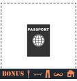passport icon flat vector image vector image