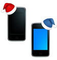Phones With Caps Of Santa Claus vector image