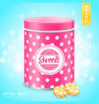 realistic metal box for sweets vector image vector image