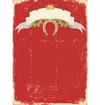 Red christmas card with horseshoe on old vector image vector image