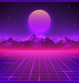 retro landscape in purple colors futuristic vector image vector image