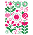 scandinavian folk art floral greeting card vector image vector image