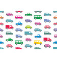 seamless pattern with cars and trucks vector image vector image