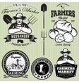 set badges with the farmer and vegetables vector image