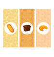 set of bakery cartoon banners cards vector image vector image