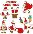 Set of Santa Claus icons vector image