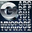 Silver chrome or aluminum 3D alphabet vector image vector image