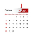 simple calendar 2017 year february month vector image vector image