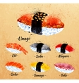 Sushi watercolor in kraft vector image