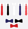 Tie and bow tie set vector image vector image