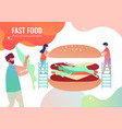tiny men cook fast food burger vector image vector image