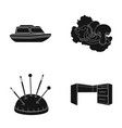 tree furniture cafe and other web icon in black vector image vector image