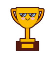 trophy cup kawaii character vector image